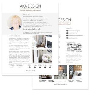 AKA Design media kit for blog