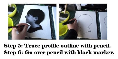 trace silhouette onto canvas with a pencil
