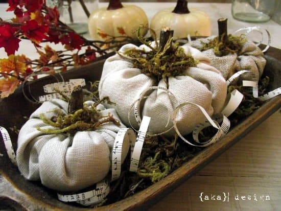 Fabric Cinderella Pumpkins - A Simple DIY for Fall Decorating by Home Made Lovely.