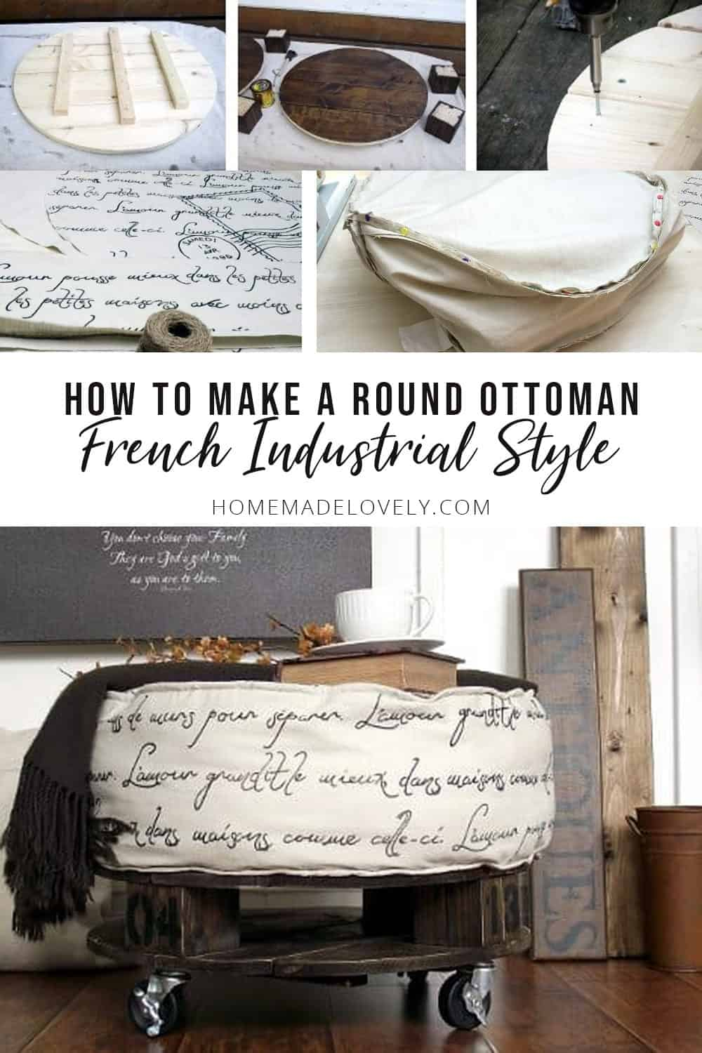 How to Make a Round Pallet Style French Industrial Ottoman