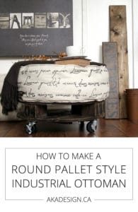 how to make a round pallet style industrial ottoman