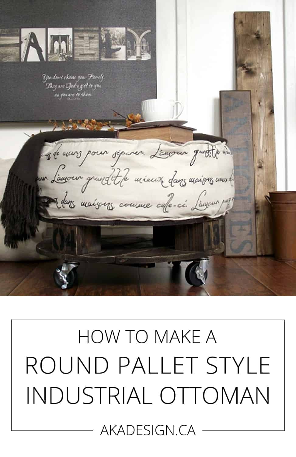 What a fun looking ottoman! How to make a round, pallet-style industrial ottoman via @akadesigndotca