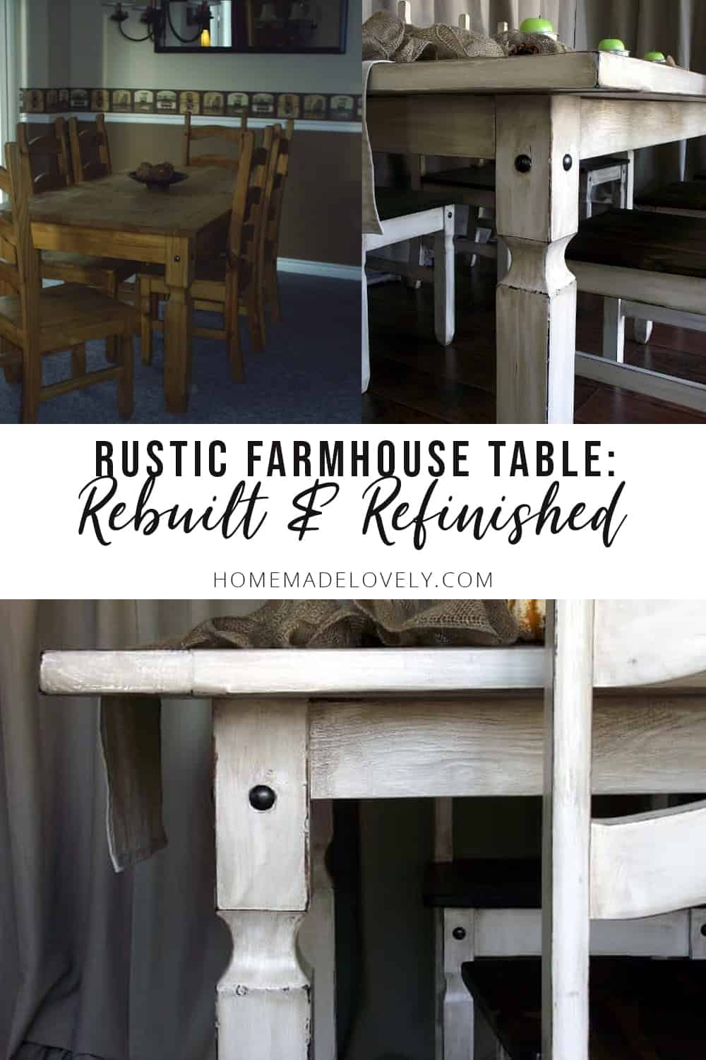 rebuilt and refinished rustic farmhouse table