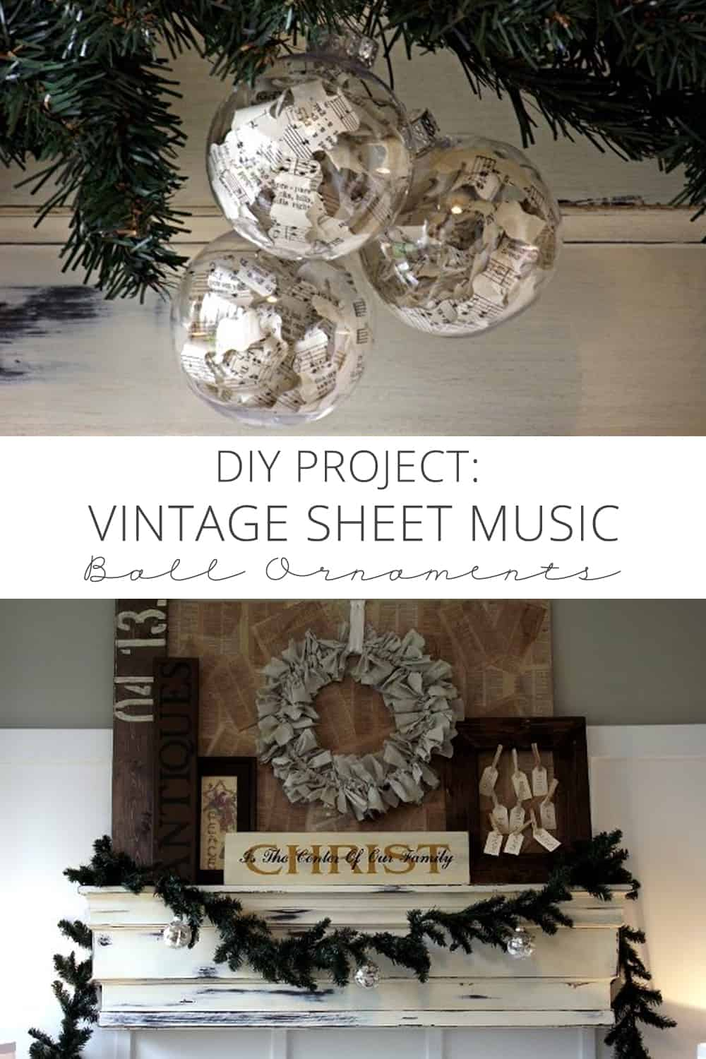 Diy project vintage sheet music ball ornaments for Diy music projects