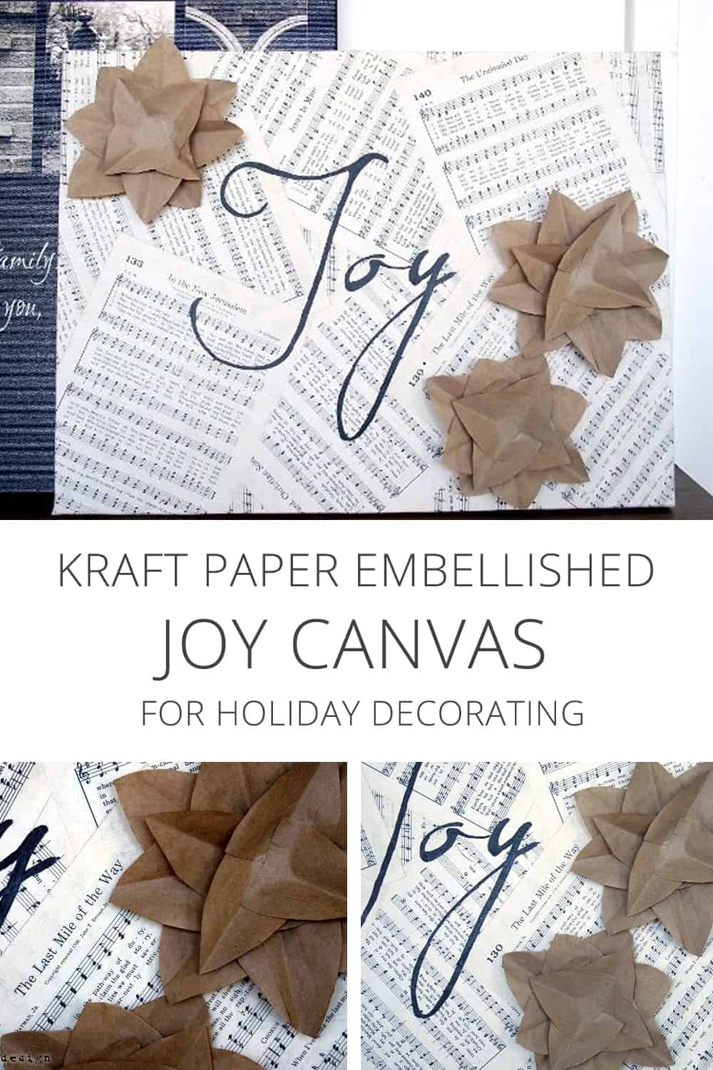 kraft paper embellished joy canvas for holiday decorating