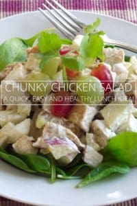Chicken salad on a plate with grapes