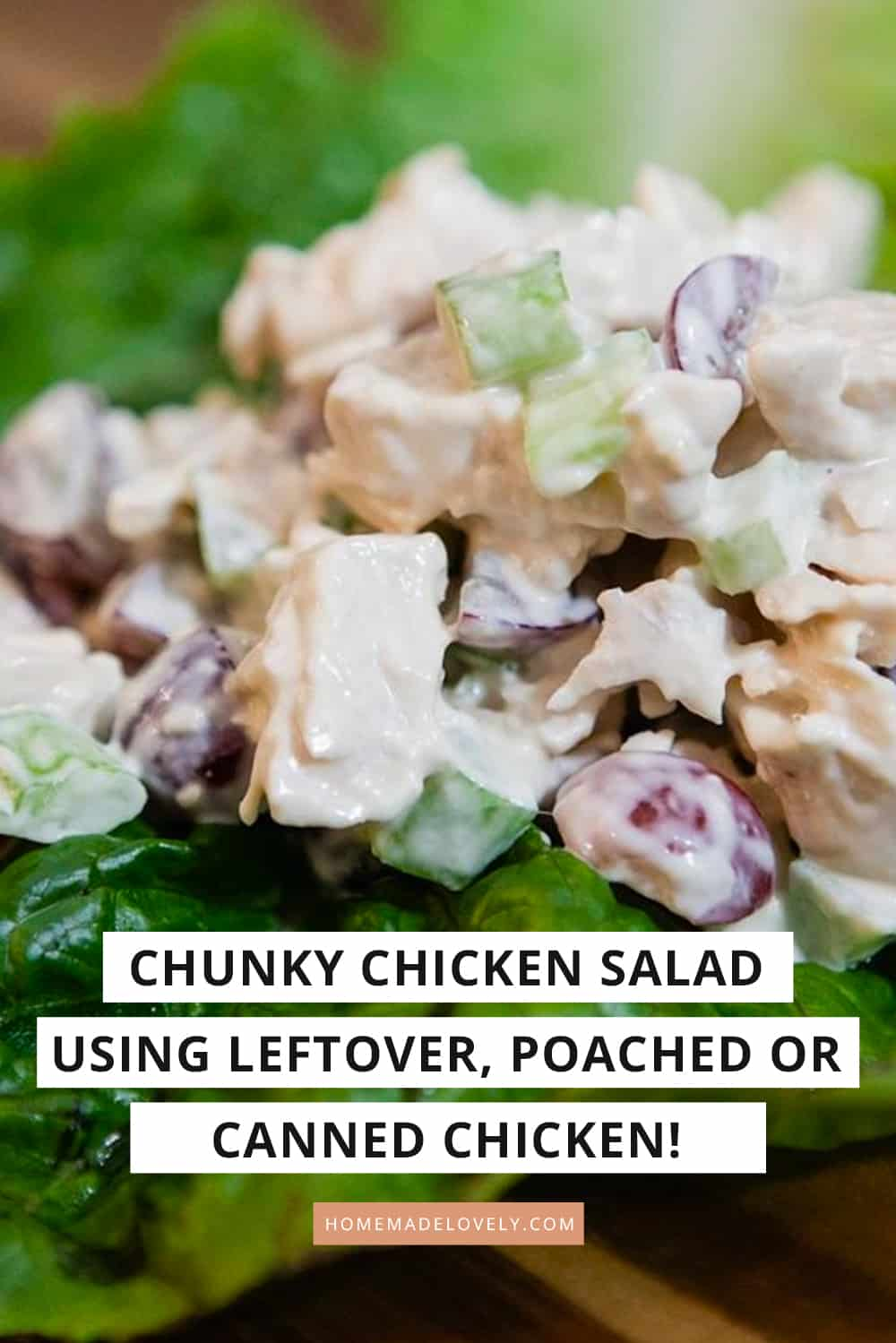 chicken salad on lettuce with text overlay