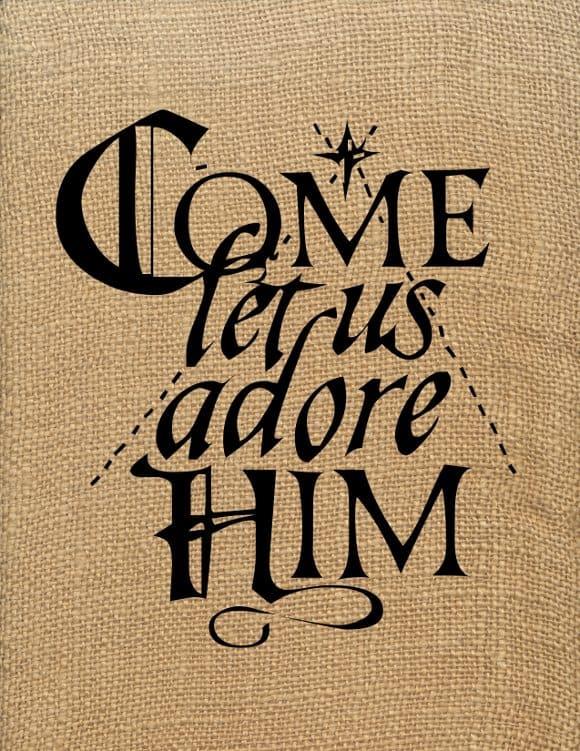 Come Let Us Adore Him Art (Burlap)