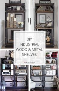 DIY Industrial wood and metal shelves