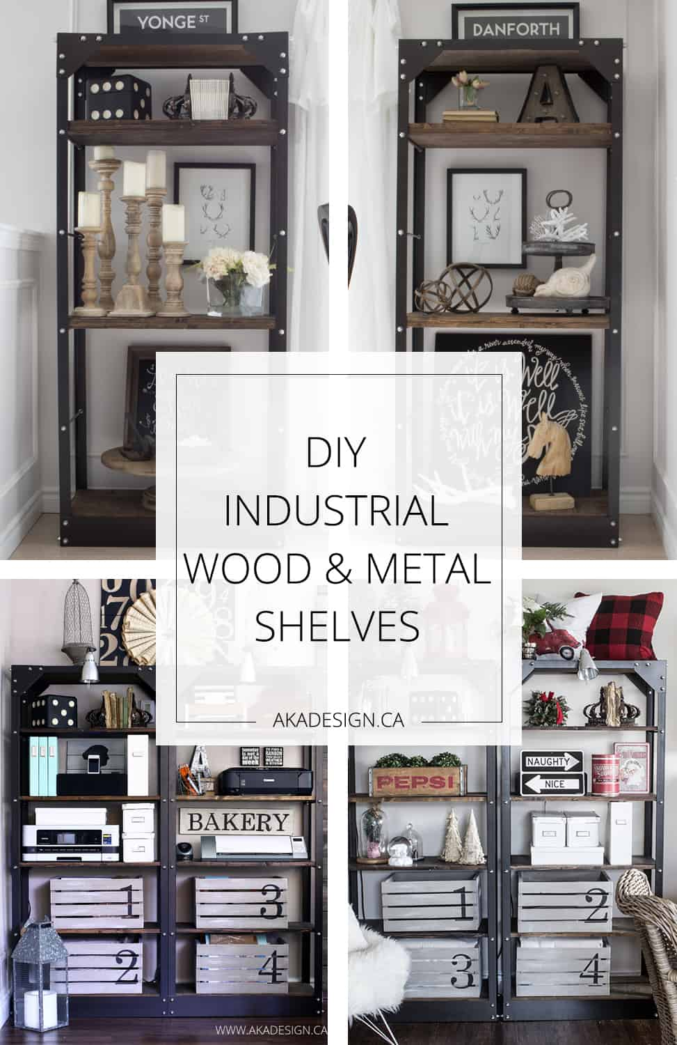 DIY Industrial Wood and Metal Shelves. Making these for our dining room!