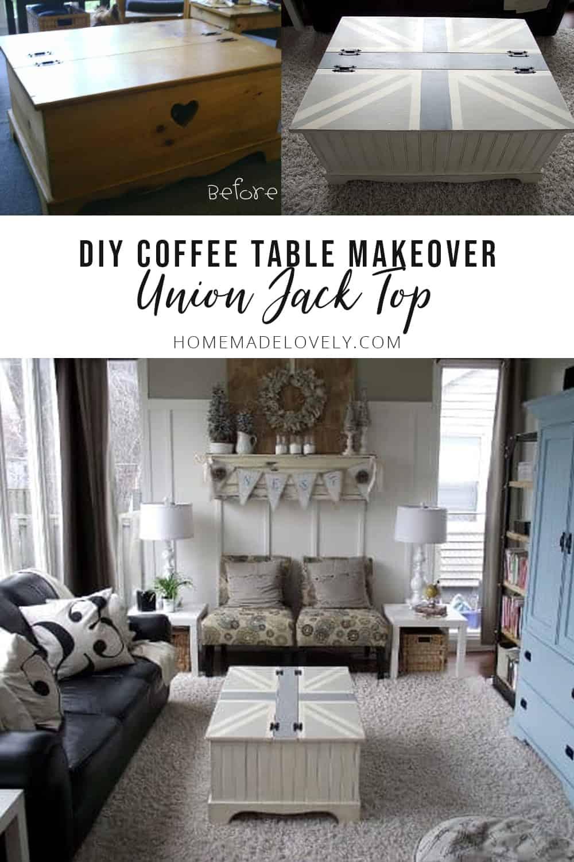 DIY Union Jack coffee table makeover copy