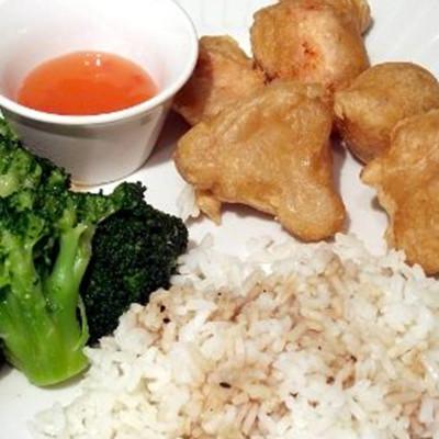 Gluten Free Chicken Balls & Garlic Broccoli