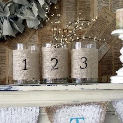 DIY Burlap Wrapped Jars