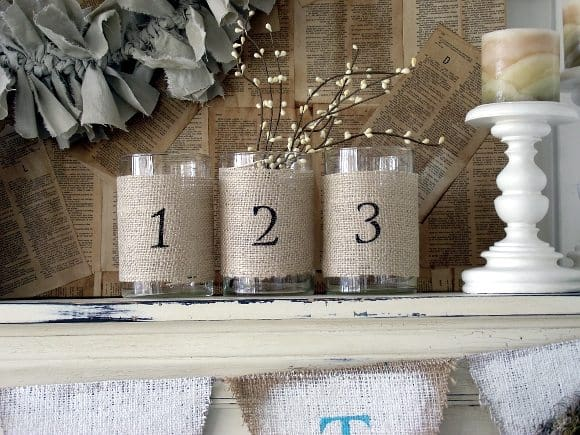 burlap wrapped vases