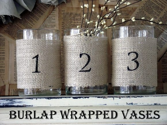 burlap wrapped vases with graphic1 DIY Burlap Wrapped Jars