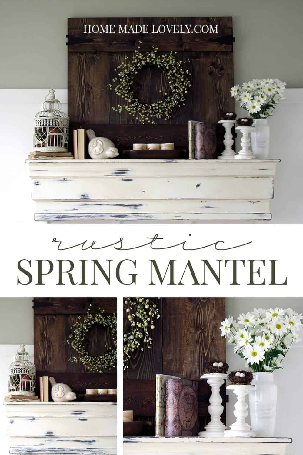 mantel wall shelf with flowers and spring things, rustic spring mantel