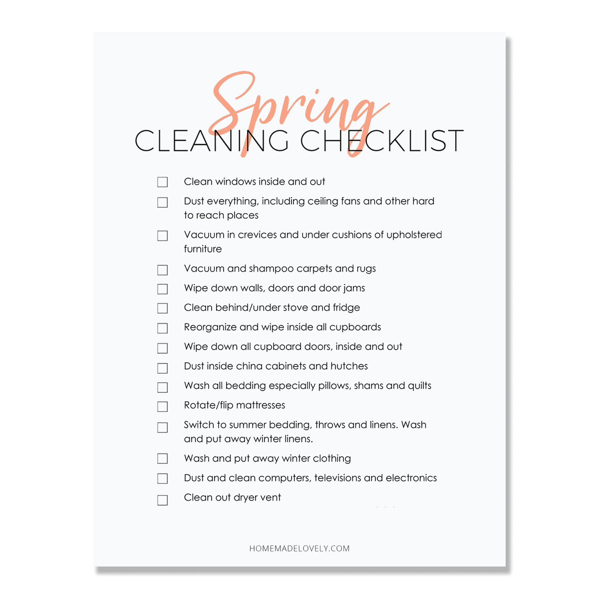 spring cleaning checklist on paper with shadow background