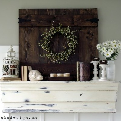 Rustic Spring Mantel with Flowers, Birds and a Faux Fence