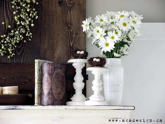 A Fresh And Rustic Spring Mantel That Includes Flowers Birds