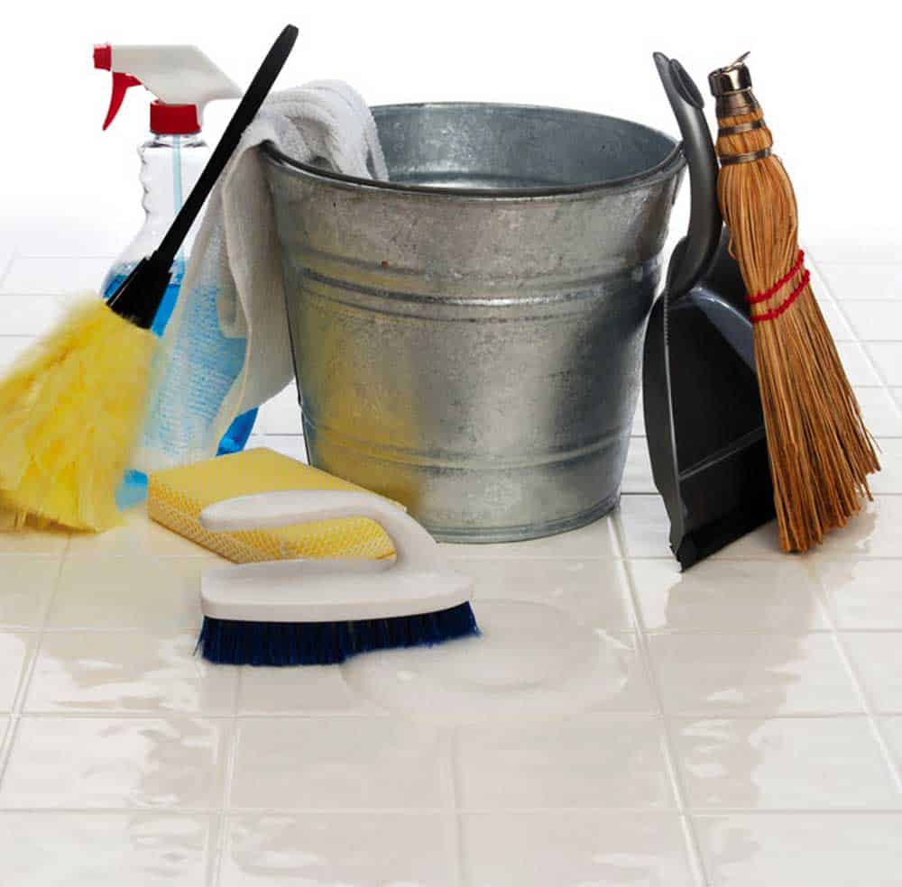 pail, broom, dust pan, cleaners