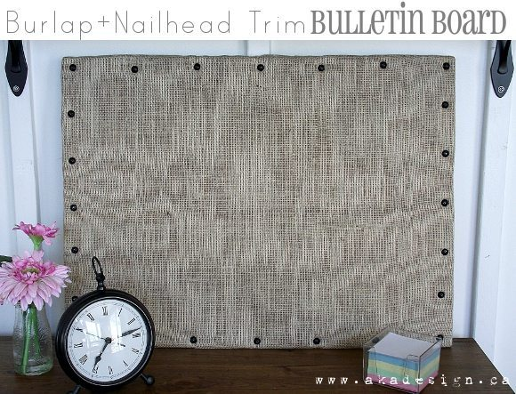 Burlap and Nailhead Trim Bulletin Board