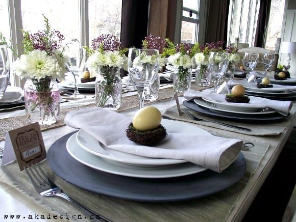 easter spring table corner with plate