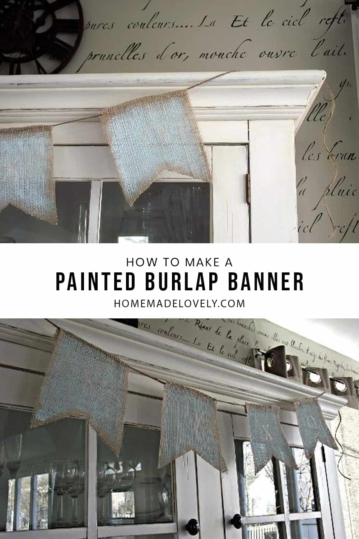 painted burlap banner