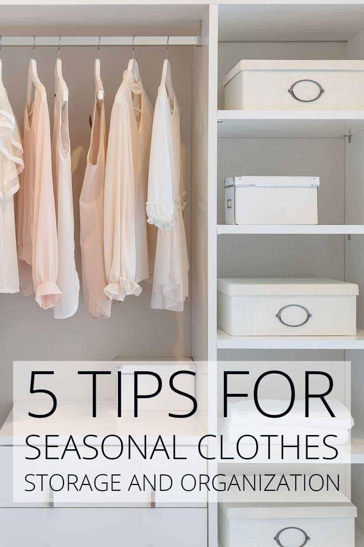 pretty feminine closet illustrating Seasonal Clothes Storage
