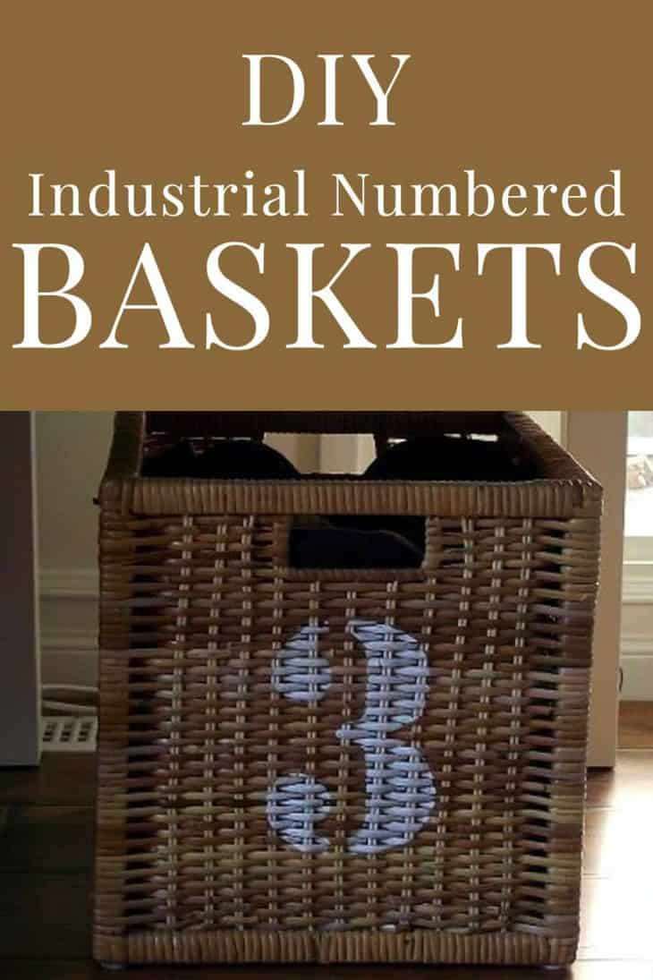 square basket with painted number 3