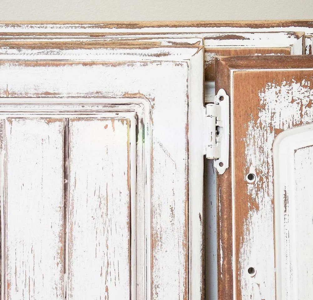 chippy painted white cabinet doors