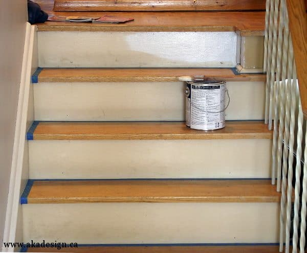 Painted stairs well the risers anyway aka design for Painted stair treads