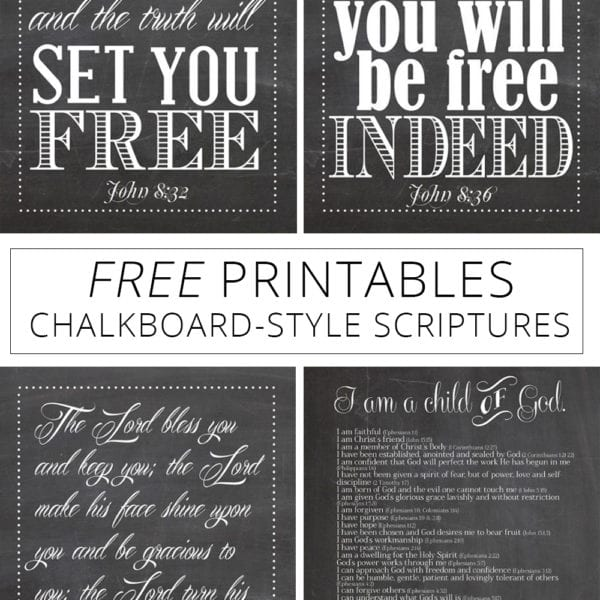 Free printables chalkboard-style scriptures