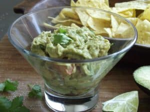guacamole in glass dish