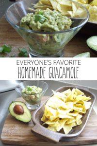 homemade guacamole, chips