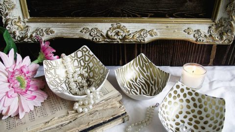 Decorate a Ceramic Bowl with a Sharpie – in Gold Animal Prints!
