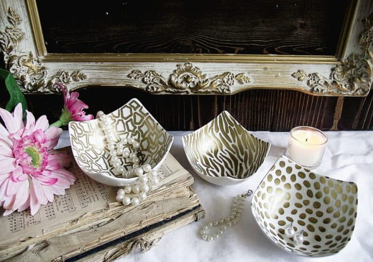 Decorate a Ceramic Bowl with a Sharpie - in Gold Animal Prints!