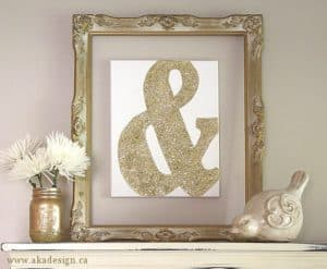 Gold Glitter Ampersand Canvas Art