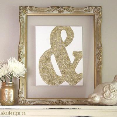 Gold Glitter Ampersand Canvas Art