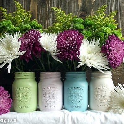 Pastel Over Gold Painted Mason Jars