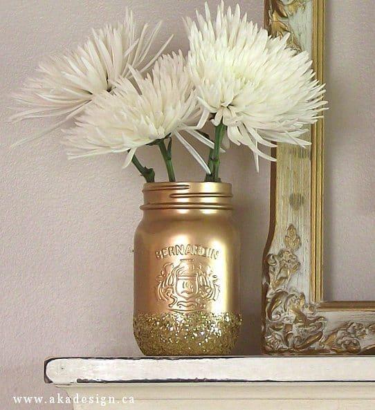 gold glitter mason jar no title