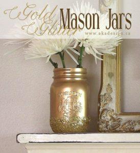 gold glitter mason jars
