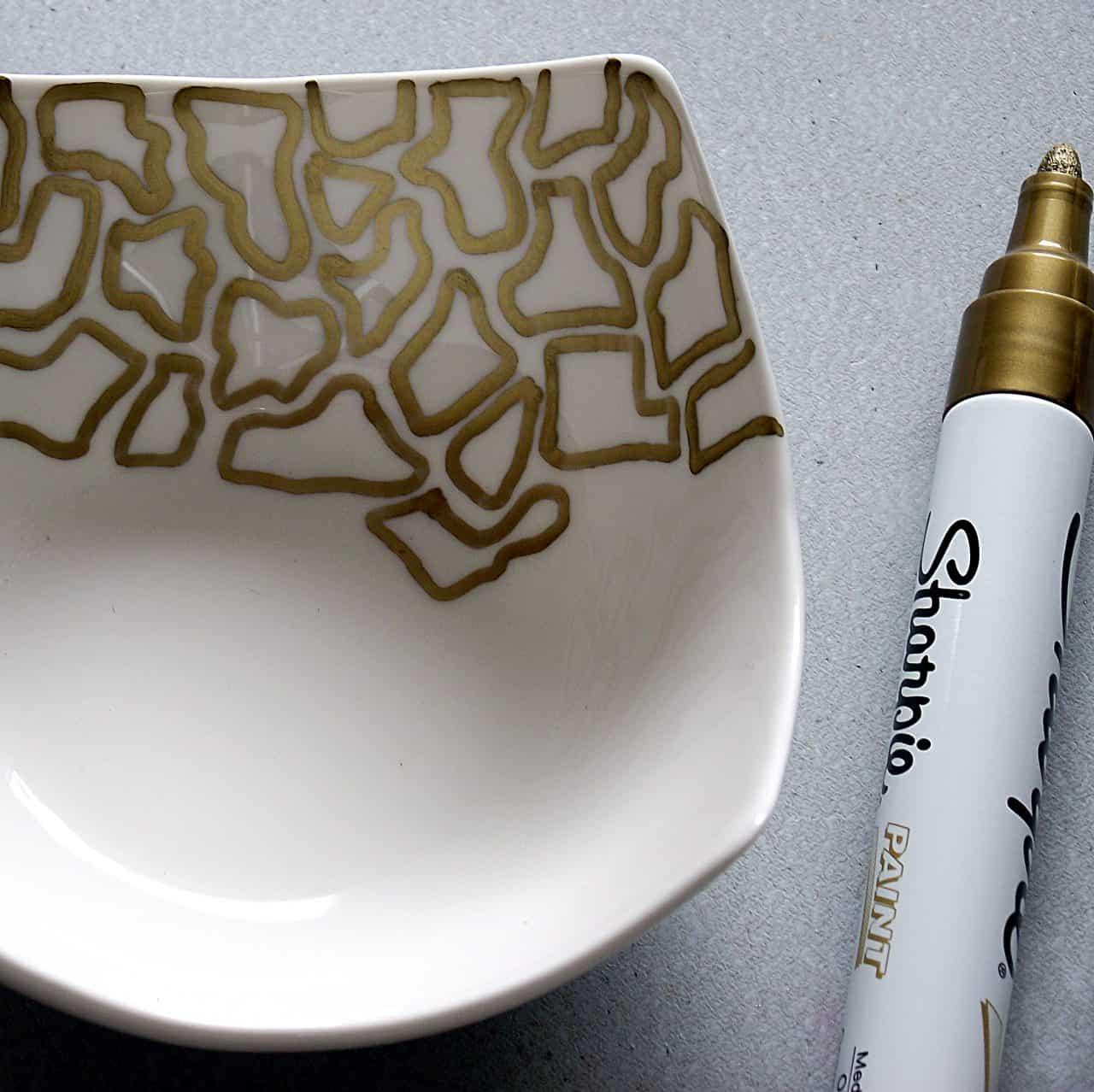 Gold Sharpie Bowls Animal Prints