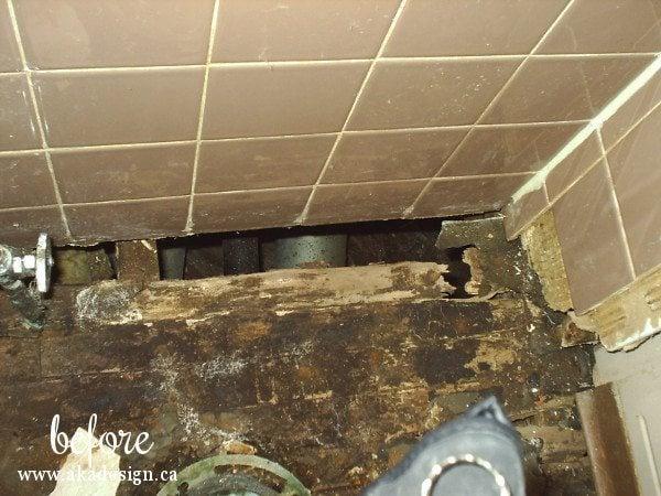 old bath subfloor