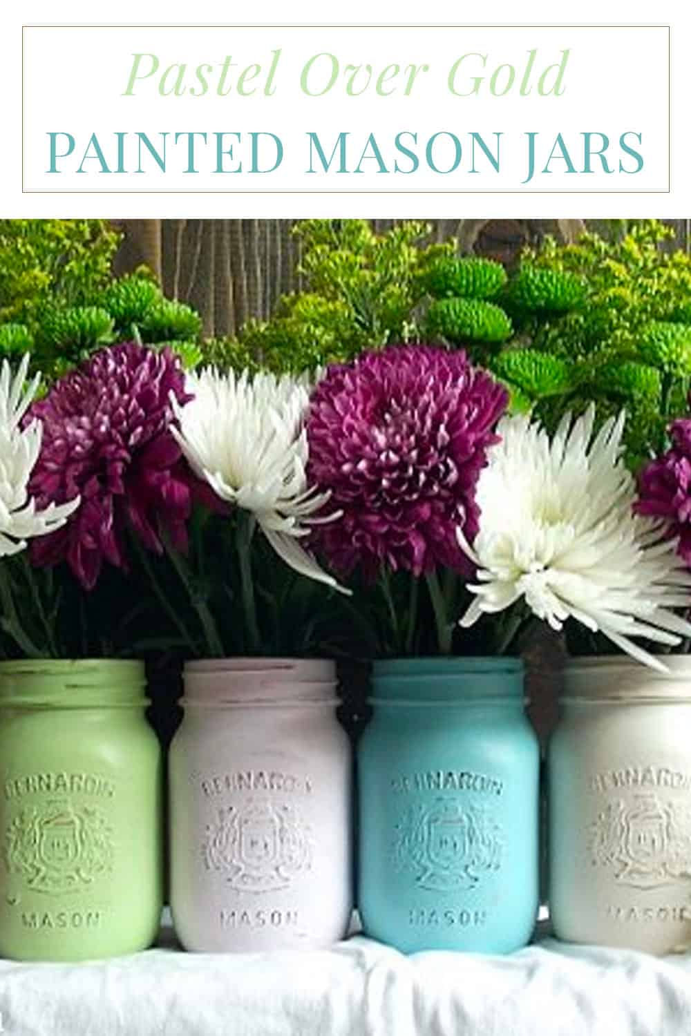Pastel over gold painted mason jars that can be used as vases (no paint inside).