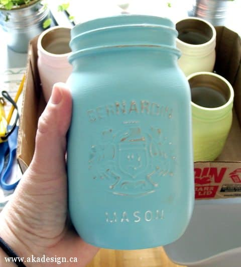 sanded painted mason jar