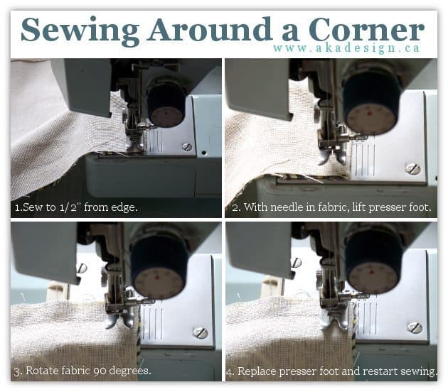 sewing around a corner