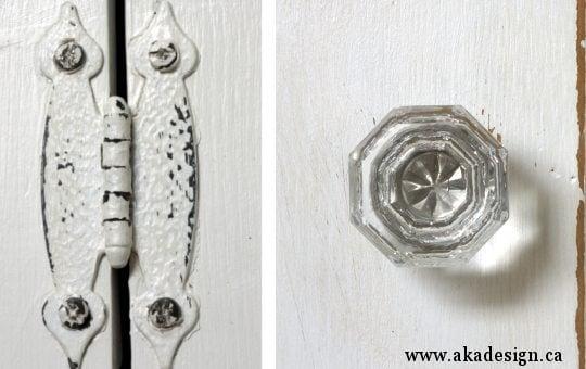 aka design step back cupboard new crystal knob and hinge