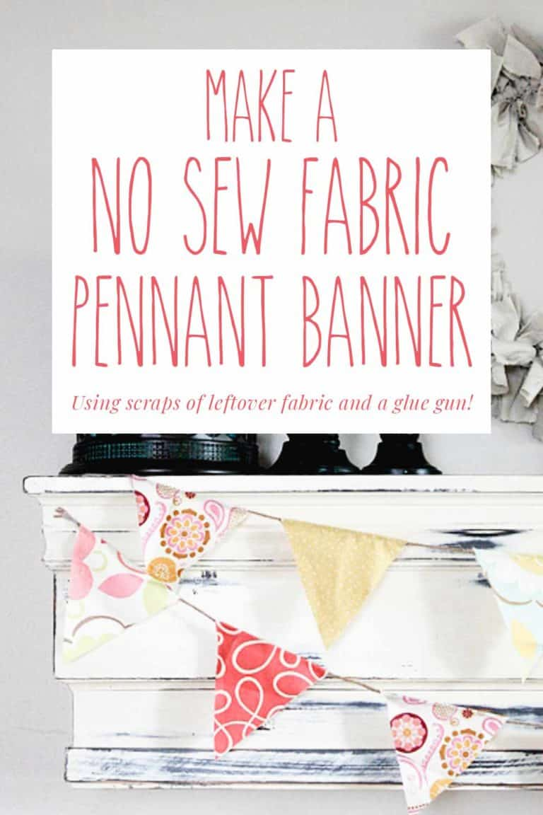 Make a No Sew Pennant Banner from Scrap Fabric
