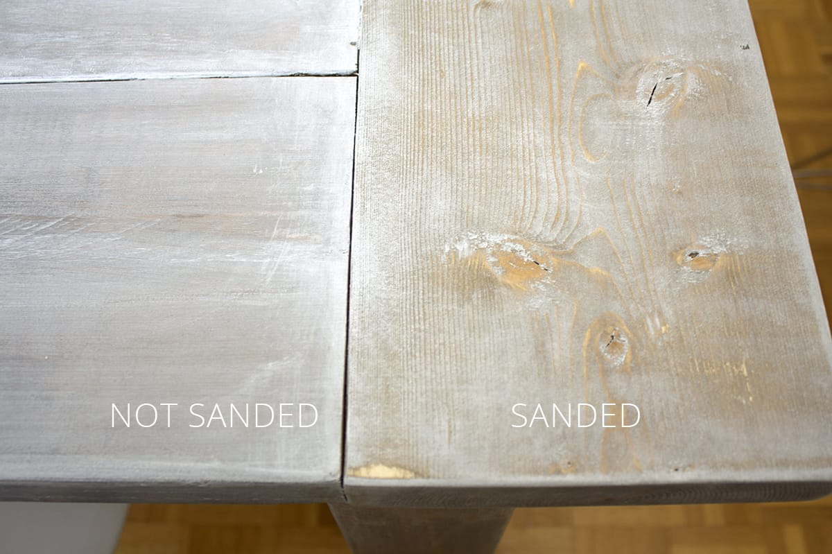 not sanded and sanded whitewash stain