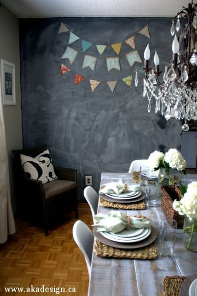 rattan chairs number pillow chalkboard wall